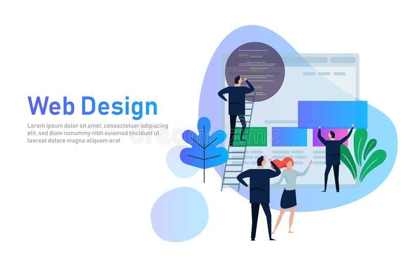 Vector illustration. Web design creative teamwork. People are building a business project on the Internet. The monitor vector illustration