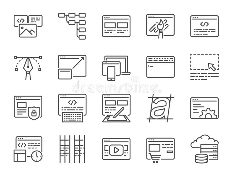 Web development line icon set. Included icons as design, developer, coding, content and more. Vector and illustration: Web development line icon set. Included royalty free illustration