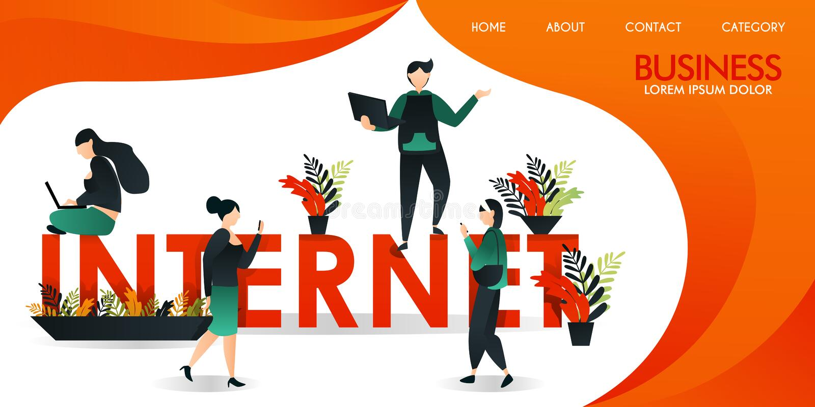 Vector illustration or web page with orange and yellow. a group of people who are communicating using internet technology around t stock illustration