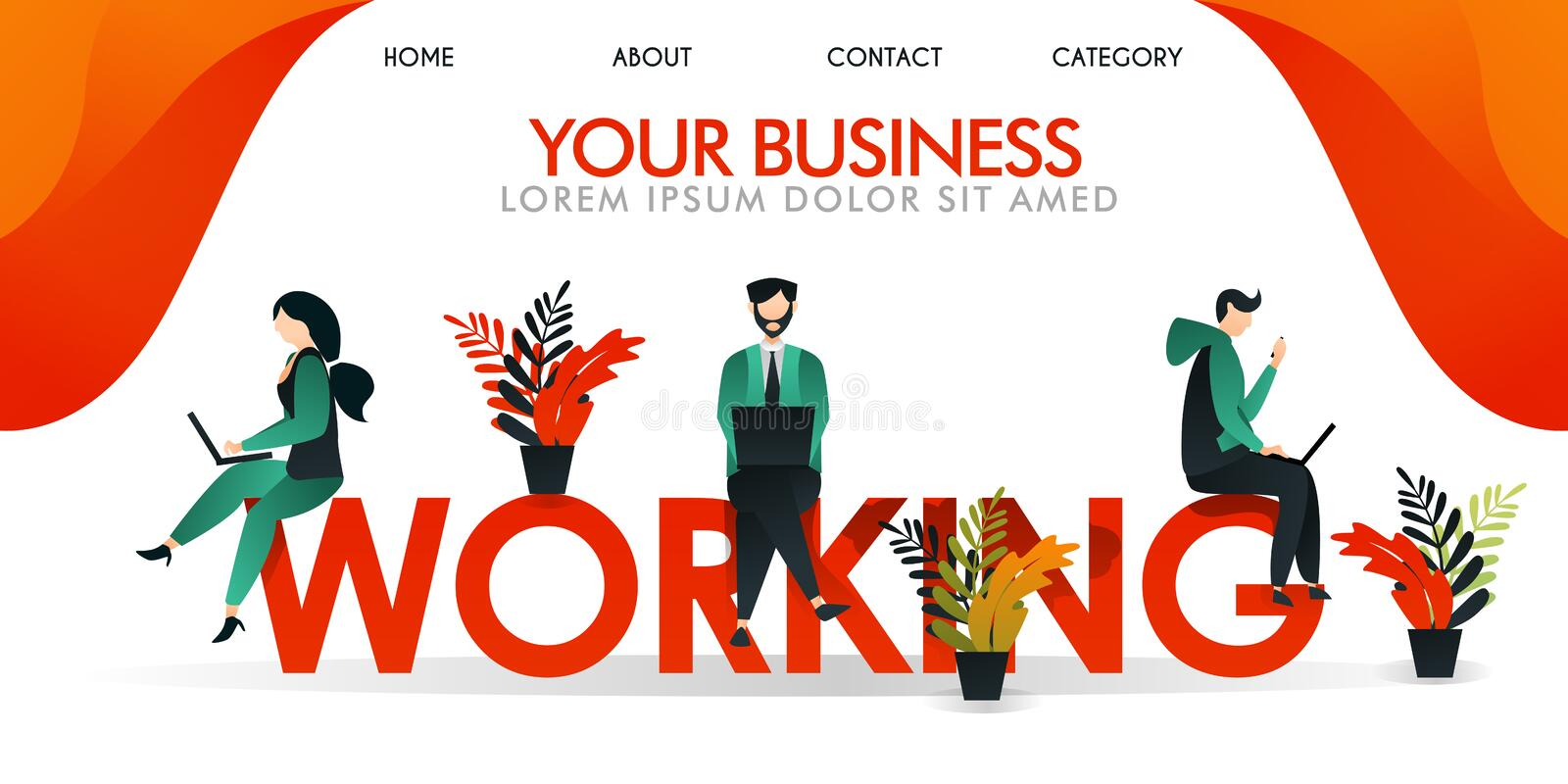 Vector illustration. web page, ui ux landing page, banner. a group of people working on the words `WORKING`, in color yellow / or stock illustration