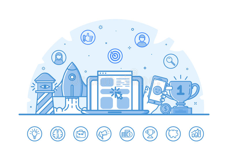 Vector illustration of website banner with blue icons in flat outline filled style. royalty free illustration