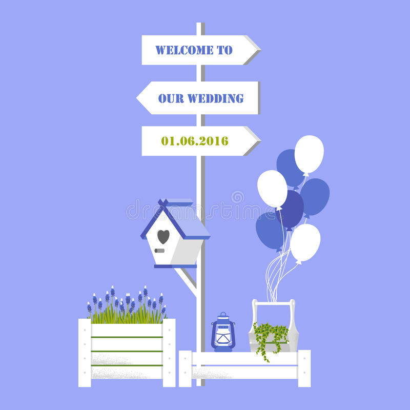 Vector illustration with wedding signpost, starling, balloon. On blue background. Variant of design of your wedding card vector illustration