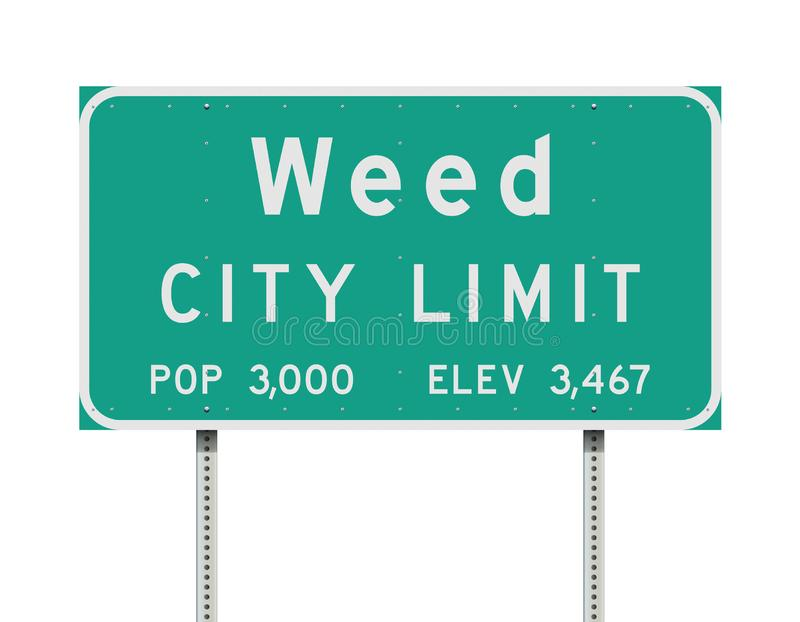 Weed City Limit road sign. Vector illustration of the Weed City Limit green road sign stock illustration