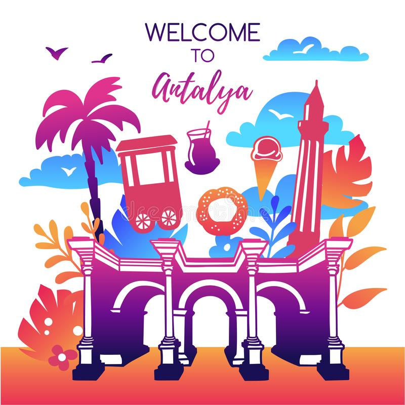 Vector illustration Welcome to Antalya, Turkey. Bright design with symbols of Antalya in modern flat style in colorful gradient. Travel card, poster, flier royalty free illustration