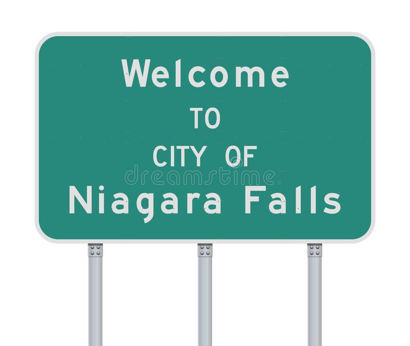 Welcome to City of Niagara Falls road sign. Vector illustration of the Welcome to City of Niagara Falls green road sign stock illustration