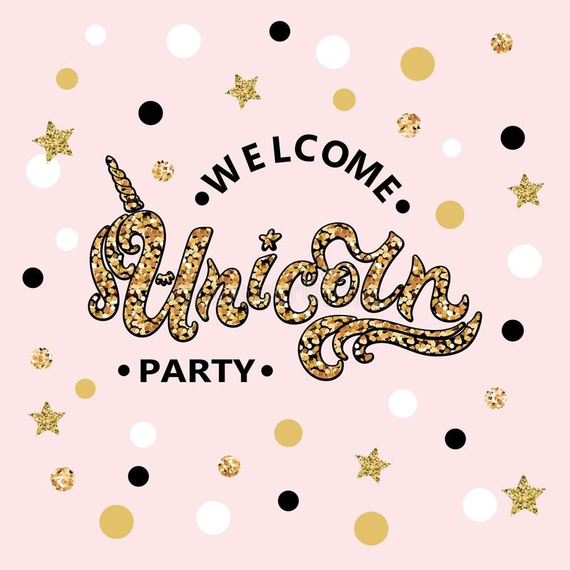 Vector illustration Welcome Unicorn Party text isolated on pink background. stock illustration