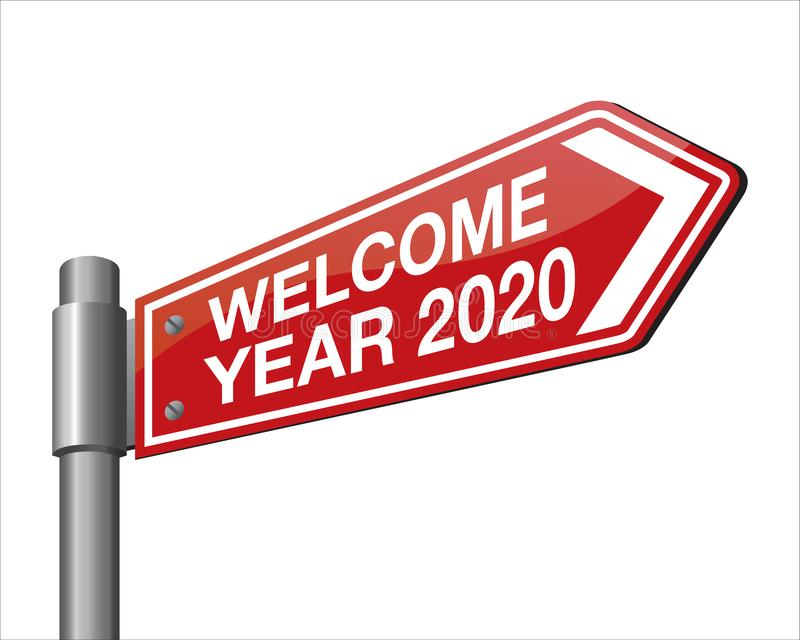 Vector illustration of welcome year 2020 road sign stock illustration
