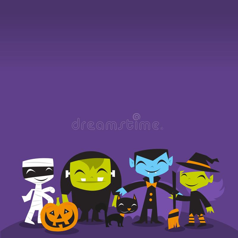 Jolly Halloween Monsters copy space Background royalty free illustration