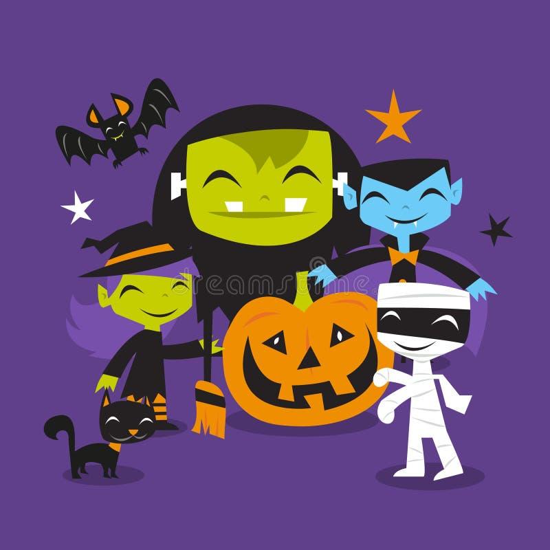 Jolly Halloween Monsters Scene stock illustration