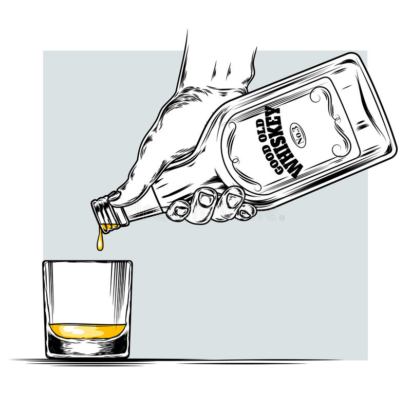 Vector Illustration Of Whiskey And Glass Stock Vector