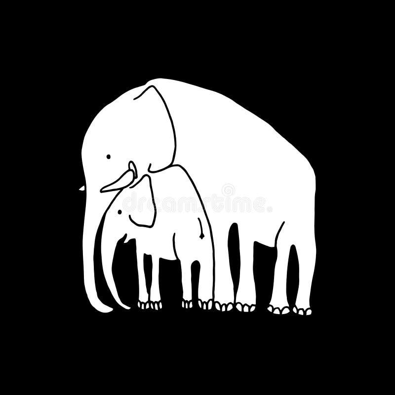 Vector illustration of white baby and mother elephant on black background. Cartoon elephant royalty free illustration