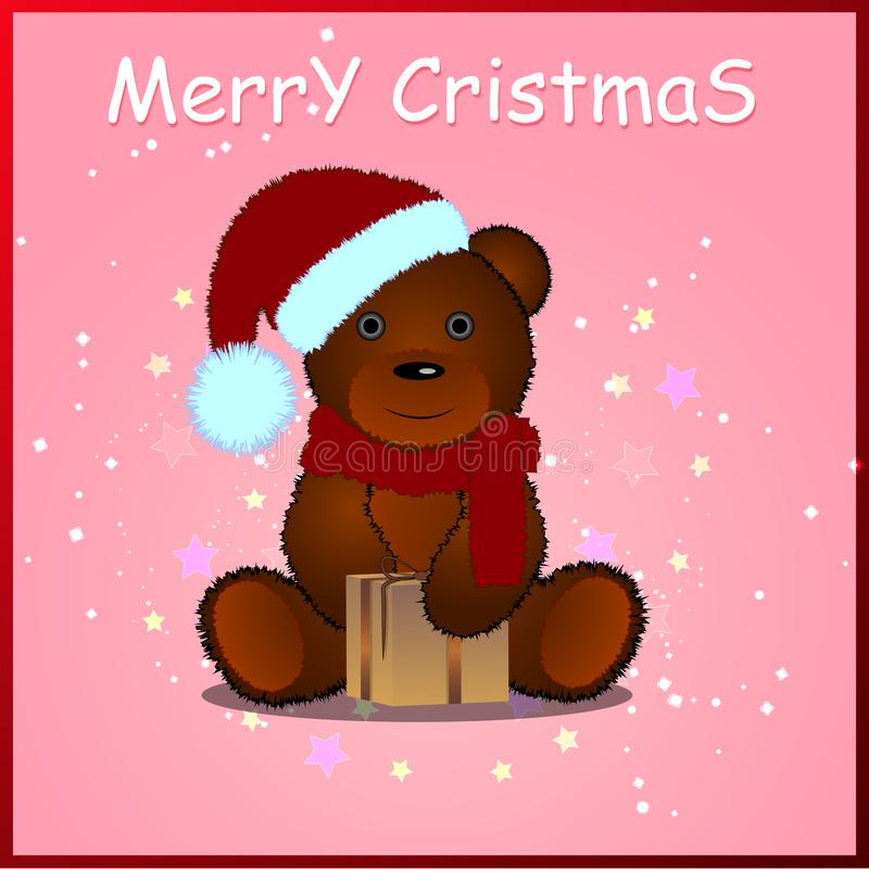 Vector illustration on a white background. Sitting fluffy cute brown teddy bear with a red Christmas Santa Claus hat. stock illustration
