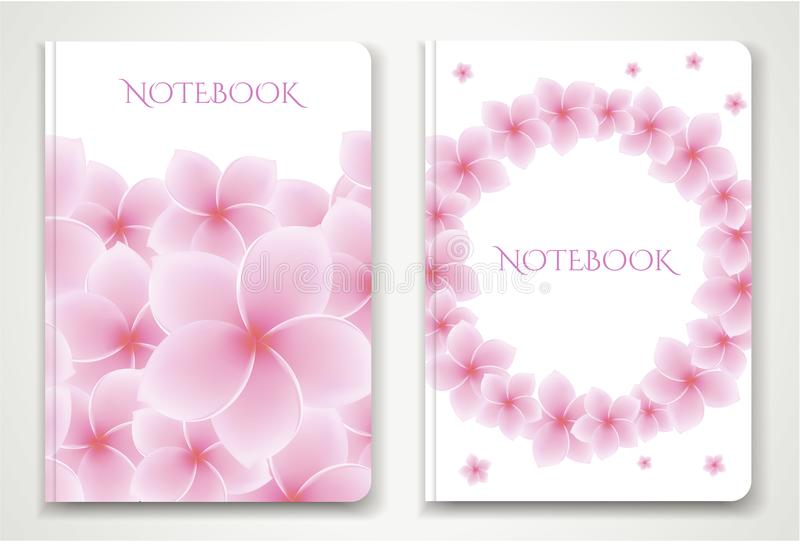 Cover designI of Notebook/ Planner with isolated Frangipani / plumeria flowers stock illustration