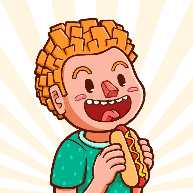 White boy eating hot dog vector illustration
