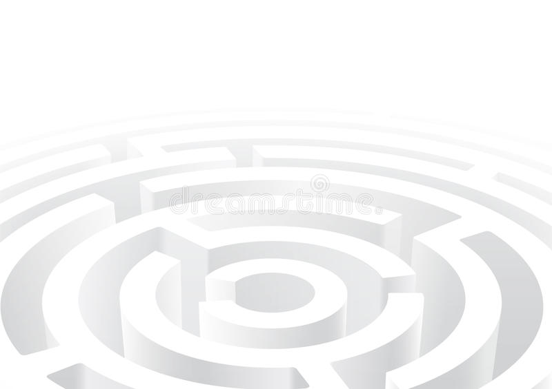 vector illustration of white circular maze 3D perspective background royalty free illustration