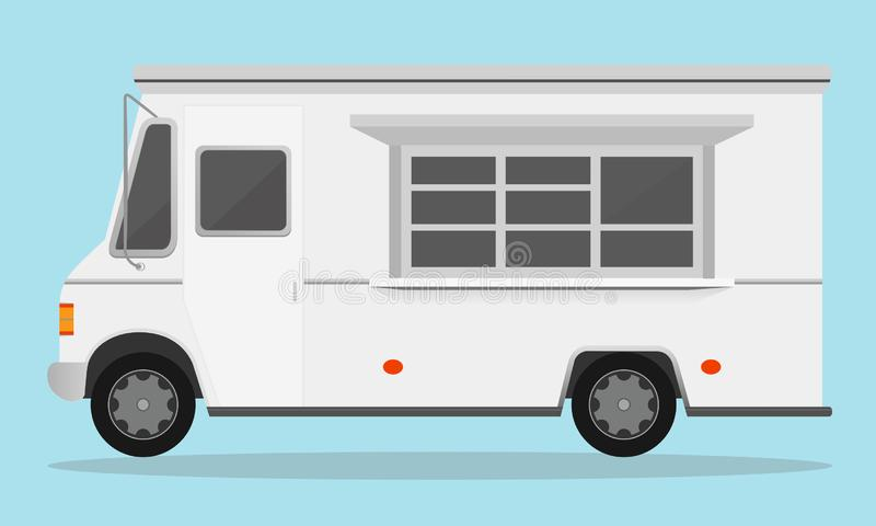 Vector illustration of white fast food trailer on light blue color background in flat style. vector illustration