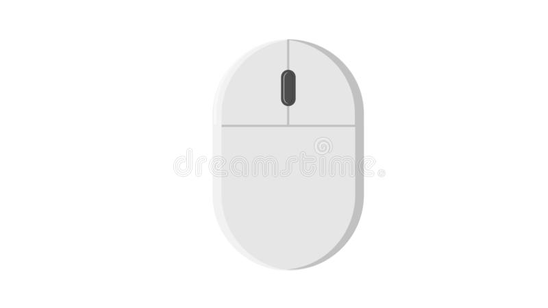 Vector illustration of a white flat icon digital wireless computer mouse with buttons and wheel on a white background. stock illustration