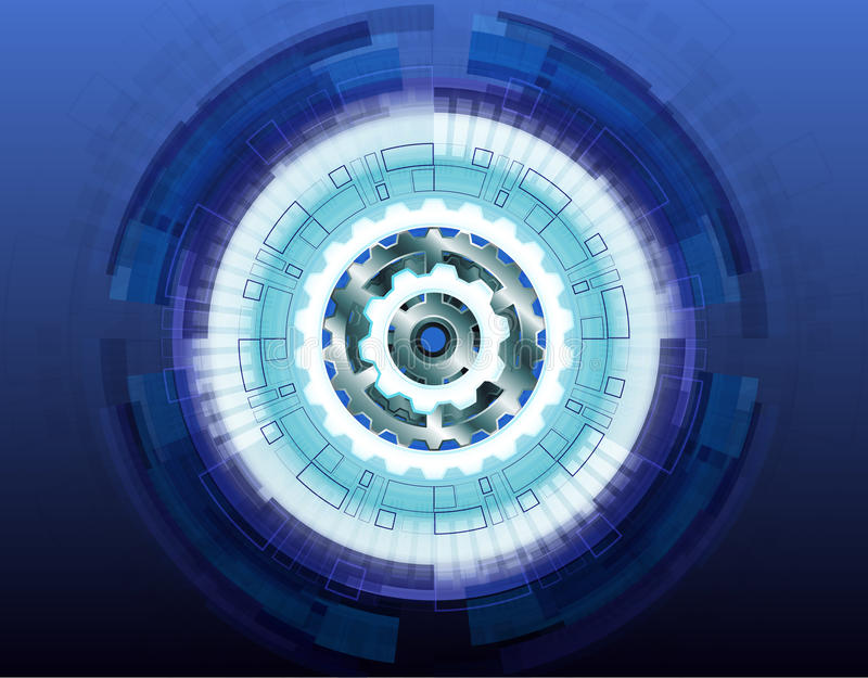 Vector illustration white gear wheel on circuit board, Hi-tech digital technology and engineering Abstract futuristic- vector illustration