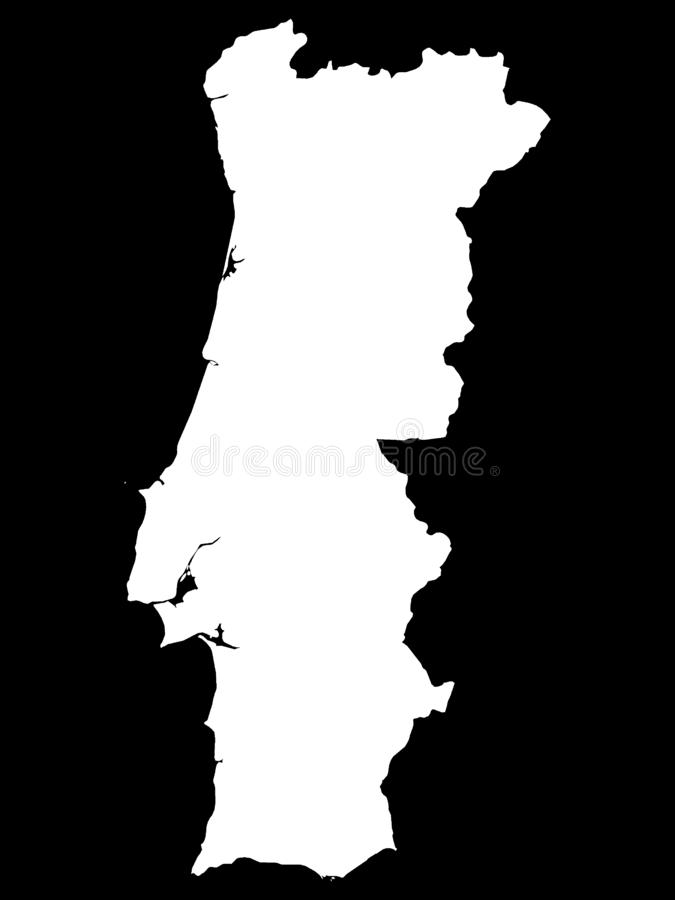 White Map of Portugal on Black Background. Vector Illustration of the White Map of Portugal on Black Background stock illustration