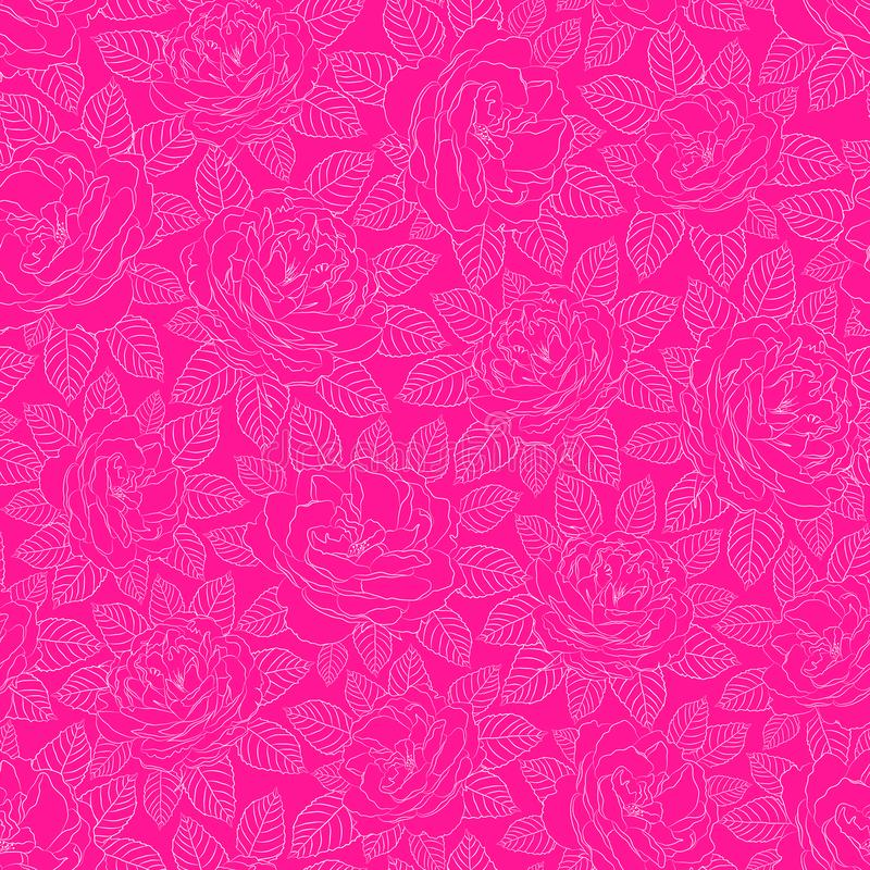 Vector illustration of white outlined roses with leaves on plastic pink background seamless repeat pattern. royalty free illustration