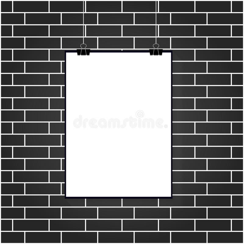 Vector illustration of a white poster hanging on a clerical clip on a white brick wall background royalty free illustration