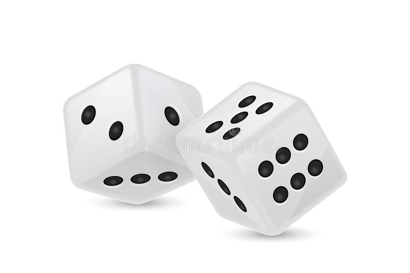 Vector illustration of white realistic game dice icon in flight closeup on white background. Casino gambling royalty free illustration