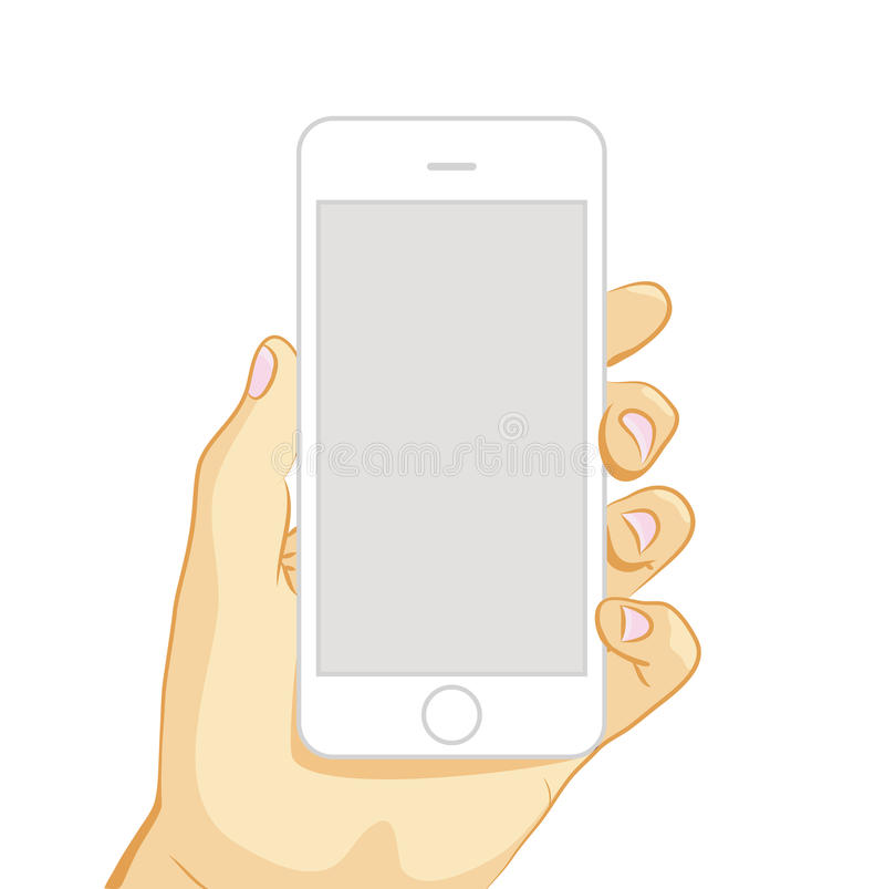 Vector illustration of white smart phone. In hand isolated on white background royalty free illustration