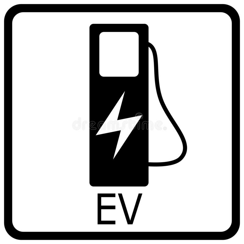 Vector illustration of a white traffic sign for charging electric cars royalty free stock photos