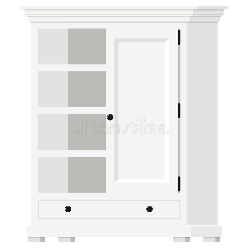 Vector illustration of white wooden provence style empty home cupboard with shelves and door icon isolated on white stock illustration