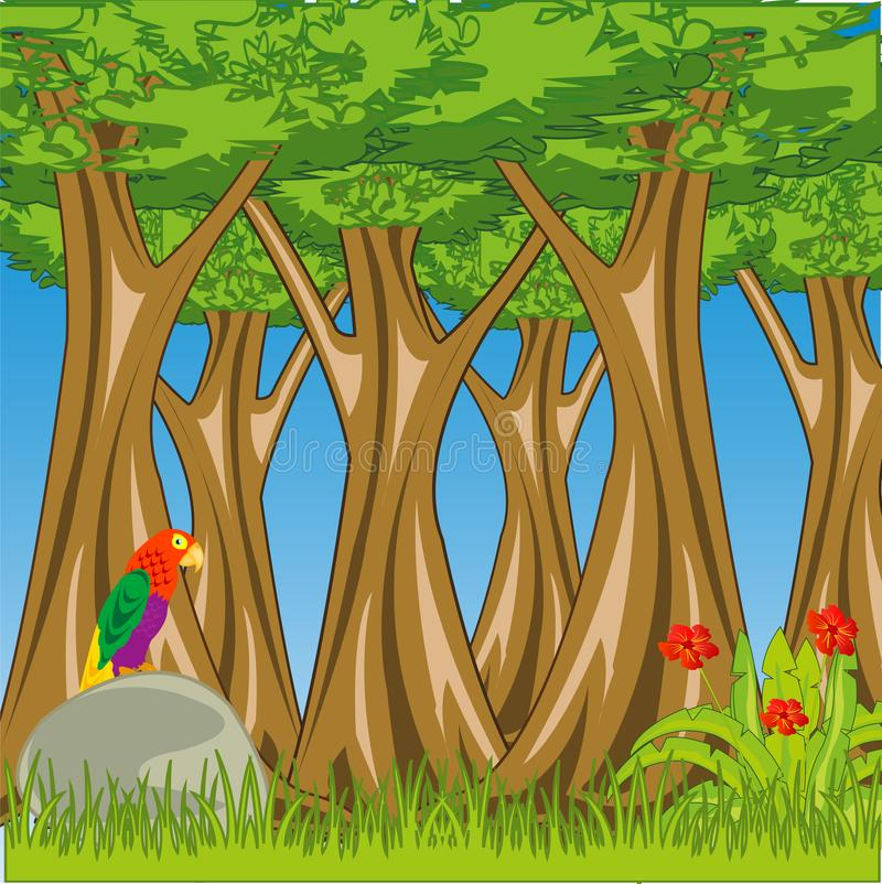 Bright primordial landscape beautiful and thick tropical wood stock illustration