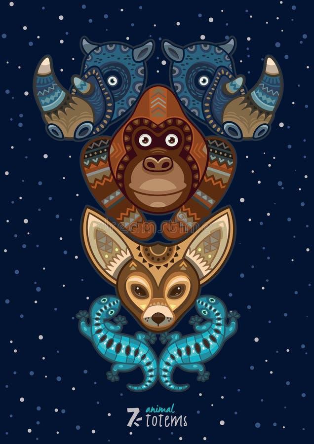 Vector illustration of wild totem animal. Rhino vector illustration