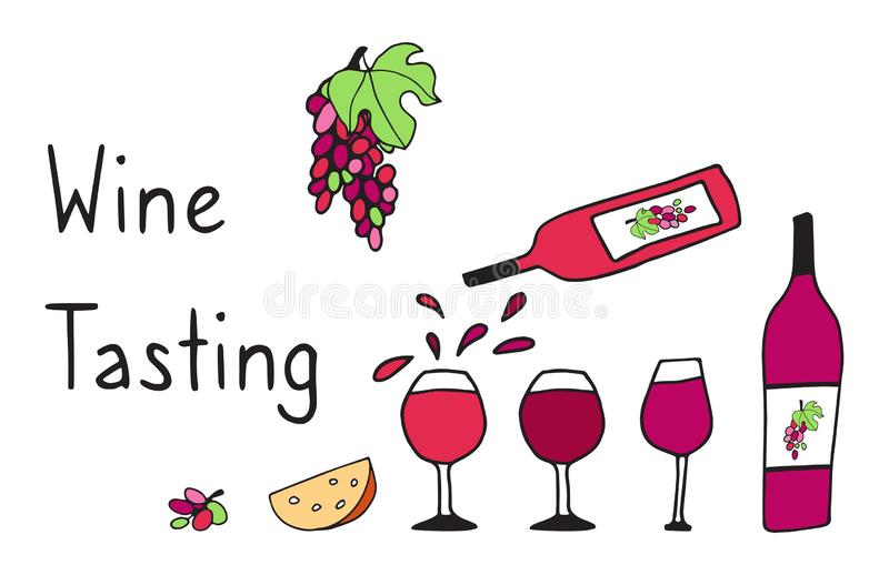 Vector illustration of Wine bottles, cheese and grapes. Hand drawn vector doodle pattern for red wine events, presentation with royalty free illustration