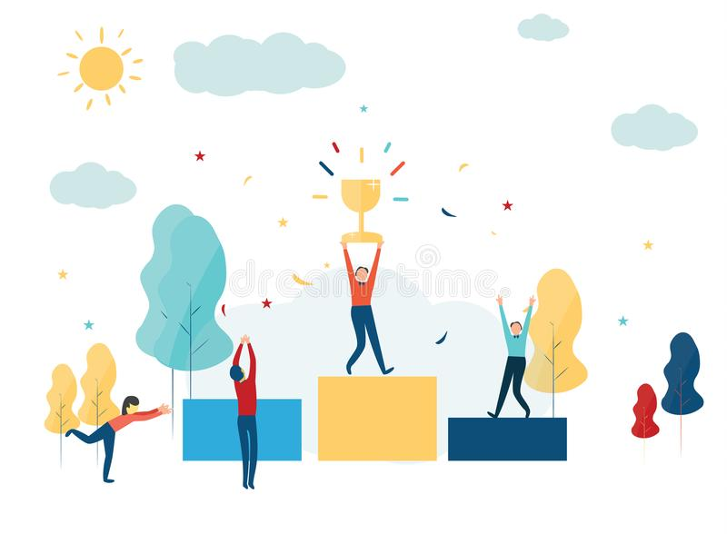 Vector illustration. The winner stands on the podium at the first and holds a reward. prize for the best win royalty free illustration