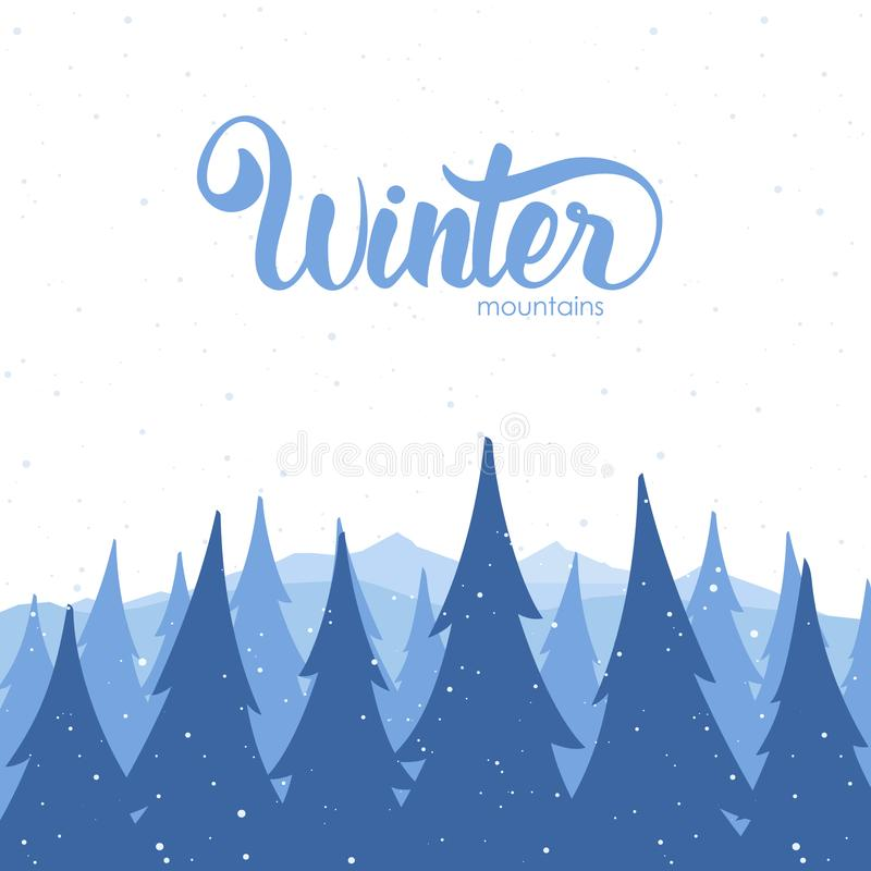 Vector illustration: Winter background with mountains and pines on foreground.  stock illustration