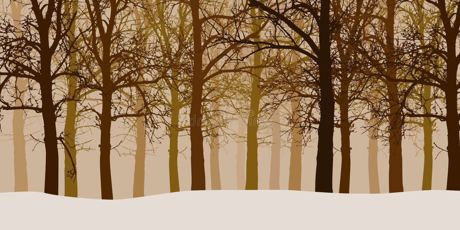Vector illustration of a winter forest without leaves with snow. And hazy backgrounds stock illustration