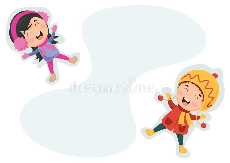 Vector Illustration Of Winter Kids. Eps 10 stock illustration