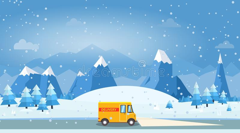 Vector illustration of winter landscape with delivery cargo van. Pines and snowflakes royalty free illustration