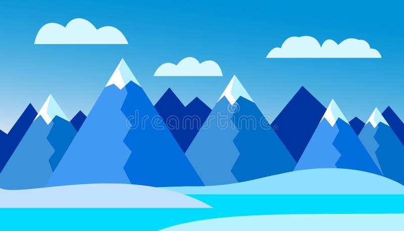 Vector illustration of winter mountain landscape - flat design stock illustration