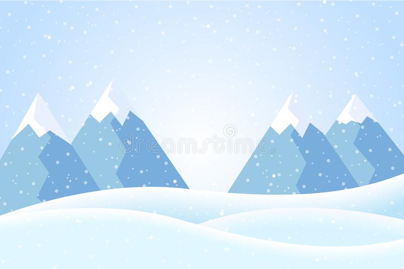 Vector illustration of winter mountain landscape with snow and b royalty free illustration