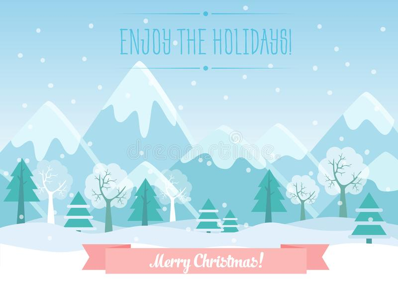 Vector Illustration of Winter Mountains landscape with pine forest and Merry Christmas text. Greeting Christmas card. Vector Illustration of Winter Mountains vector illustration