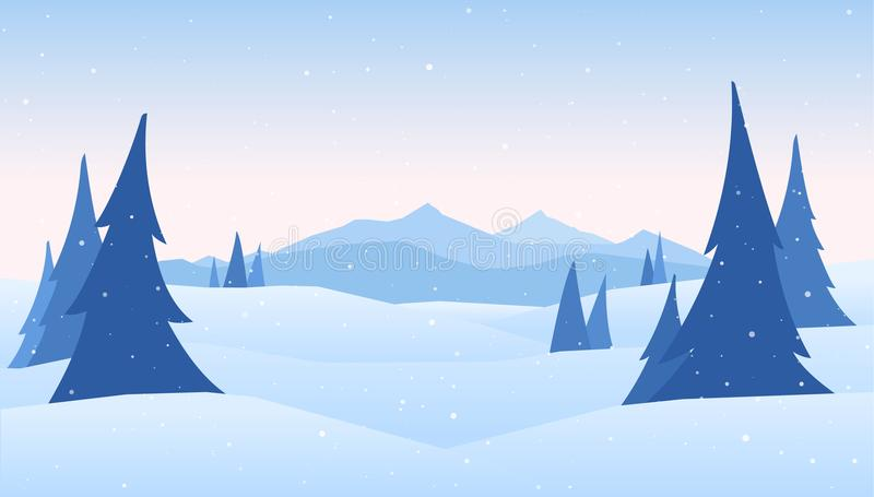 Vector illustration: Winter Mountains landscape with pines on foreground. Vector illustration: Winter Mountains landscape with pines on foreground royalty free illustration