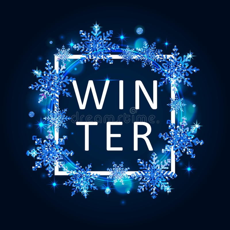 Vector illustration of winter poster template. With white square frame, typography winter word and gold cyan glittering snowflakes on blue background vector illustration