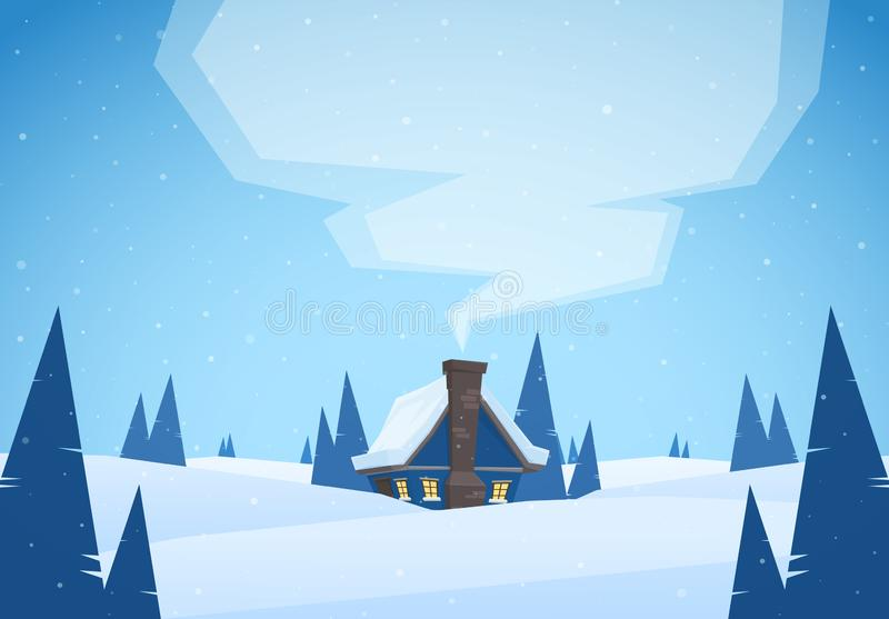 Vector illustration: Winter snowy cartoon landscape with house and smoke from chimney. Merry Christmas. Vector illustration: Winter snowy cartoon landscape with vector illustration