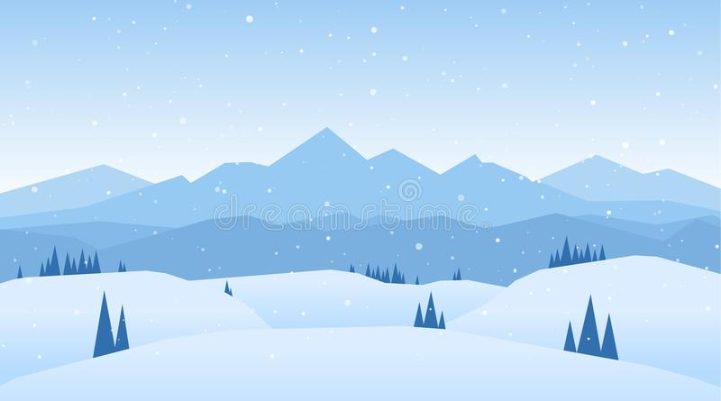 Vector illustration: Winter snowy Mountains landscape with hills and pines.  stock illustration