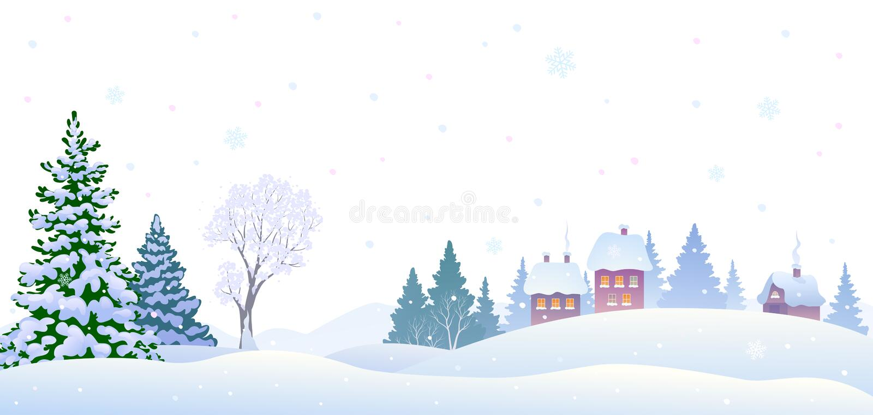 Winter village background. Vector illustration of a winter village landscape, horizontal background stock illustration