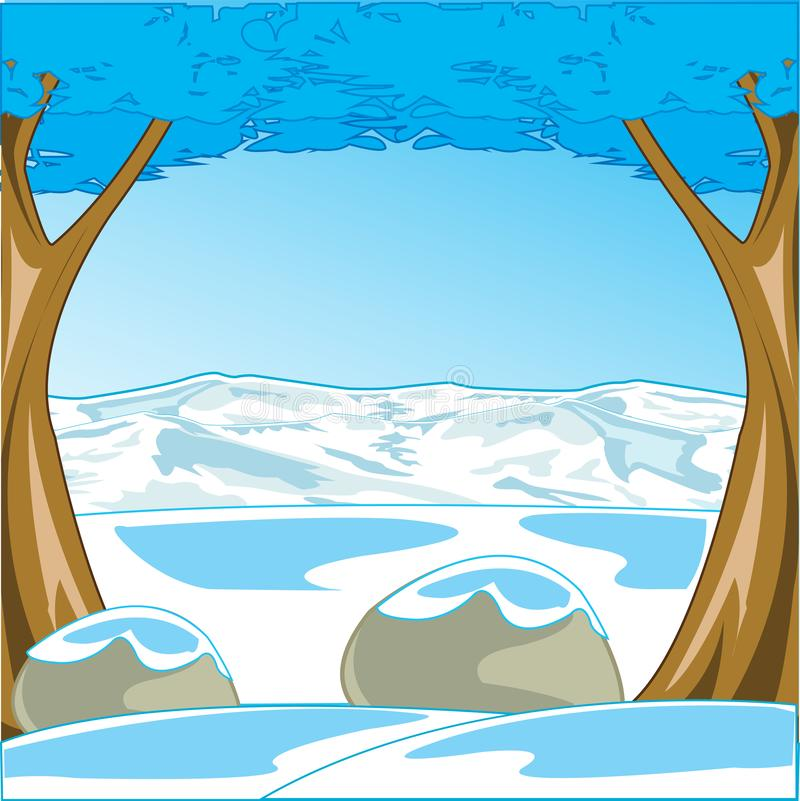 Cool winter landscape with tree and mountain vector illustration