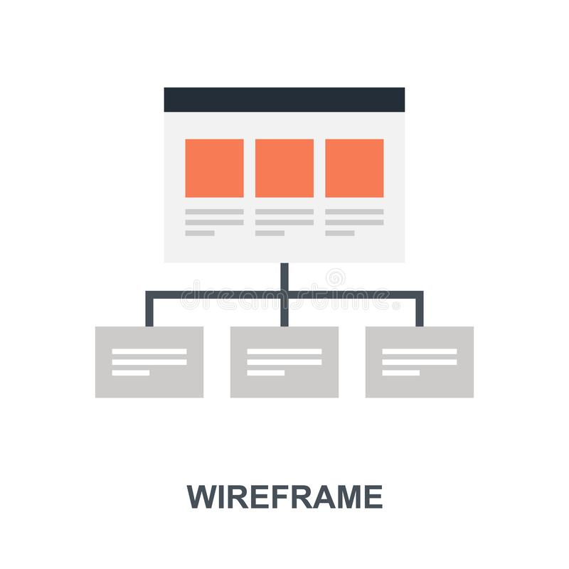 Wireframe icon concept. Vector illustration of wireframe flat design concept vector illustration