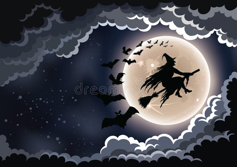 Witch on Her Broomstick Halloween Background royalty free stock photography