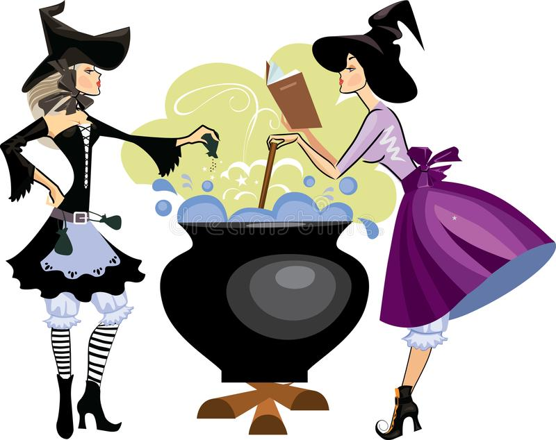 Witches preparing a potion, vector illustration of two witch is cooking something poisonous in her cauldron, at Halloween night royalty free illustration