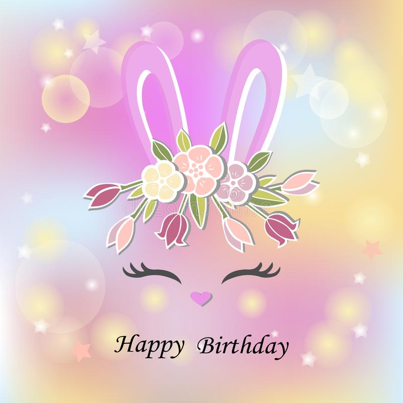 Free Vector Illustration With Bunny Ears, Smiling Eyes, Floral Wreath Stock Images - 110896024
